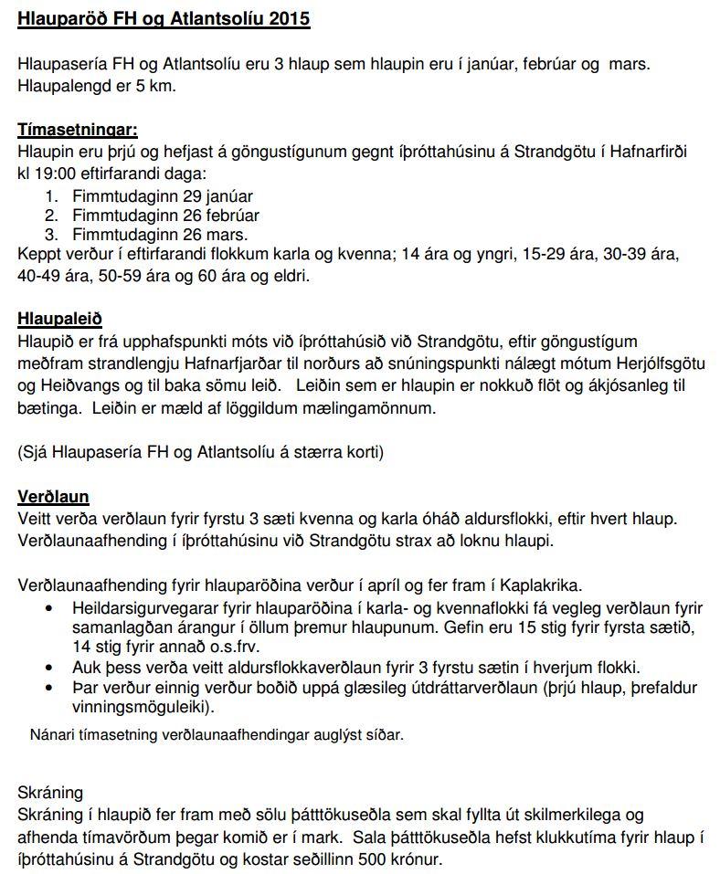 Hlauparöð FH og Atlantsolíu 2015-Tilkynning